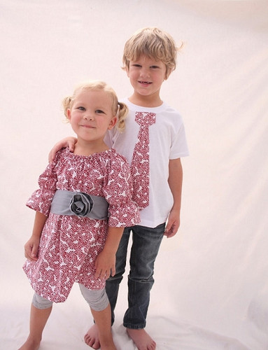 Red and Gray Dress and Shirt Set for Twins