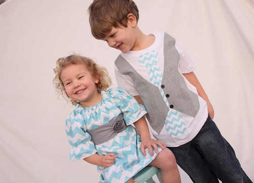 Matching Dress and Shirt for Twins: Chevron Aqua and Gray