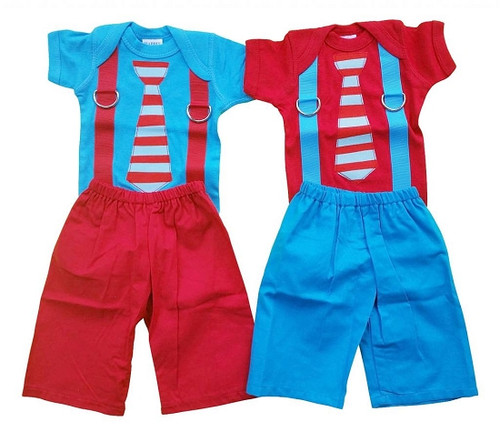 Red and Blue Boys Shirt and Pants Set