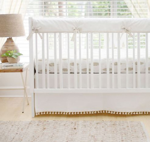 Gold and White Crib Rail Guard Set | Gold Dust Feather Crib Collection
