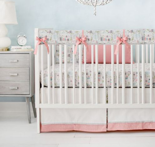 Coral and Gray Crib Bedding Rail Cover Set | In the City Collection