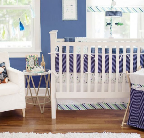 Navy Baby Bedding | Follow Your Arrow in Navy Crib Collection