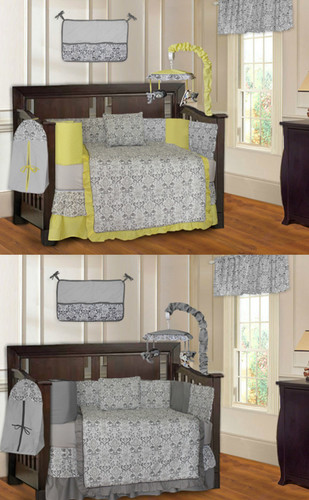 Yellow and Gray Damask 20 Piece Nursery Set. Stuff 4 Multiples  The  1 Twin Store in the US