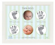 Twin Boys Handprint and Footprint Frame
