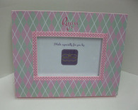 Mint Green and Pink Argyle Picture Frame
