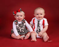 Matching Dress and Shirt for Twins: Damask & Red Collection