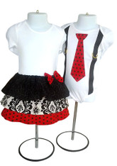 Red White & Black Ruffled Matching Set for Twins