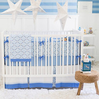 Blue and White Baby Bedding   Carousel Crib Collection