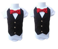 Twin Boys Red and Black Vest Set