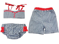 Black & Red Matching Gingham Swimsuit Set for Twins
