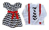 Black,White and Red Dress and Tie Shirt Set for Twins