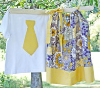 Purple and Yellow Dress and Tie Shirt Set For Twins