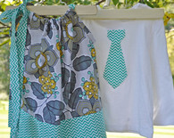 Teal and Yellow Dress and Tie Shirt Set For Twins