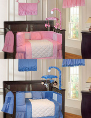 Twins Pink and Blue Minky 18PC Crib Bedding Set