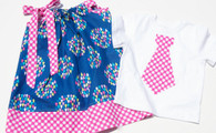 Pink and Blue Matching Dress and Shirt for Twins