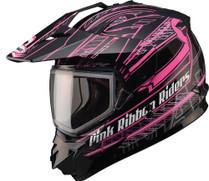 GMax GM11S Pink Ribbon Dual Lens Snow Sport Snowmobile Helmet