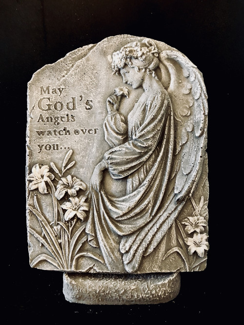 "Cement Stone keepsake on pedestal to commemorate the passing of a loved one.  May God's Angels watch over You. Approximate dimensions !5"" tall by 12"" Wide."
