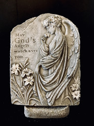 """Cement Stone keepsake on pedestal to commemorate the passing of a loved one.  May God's Angels watch over You. Approximate dimensions !5"""" tall by 12"""" Wide."""