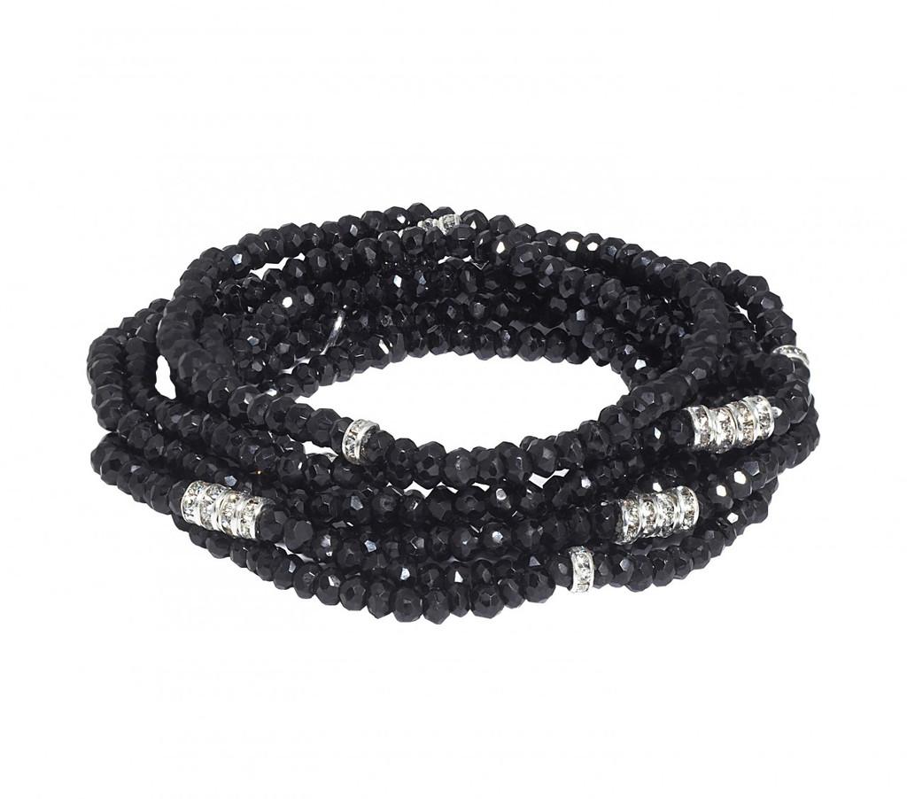 Black Diamondite Bracelet Stack