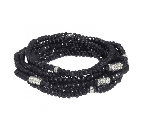 Black Diamondite Bracelet Stack