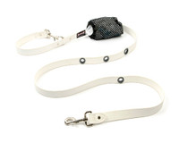 Smoochy Poochy  Waterproof Hands-Free Leash - White (Leather Alternative Material)
