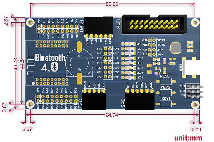 Bluetooth 4.0 NRF51822 Eval Kit - Base Board Dimensions