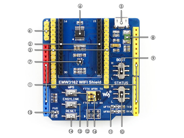 EMW3162 WIFI Shield for Arduino - What's on board