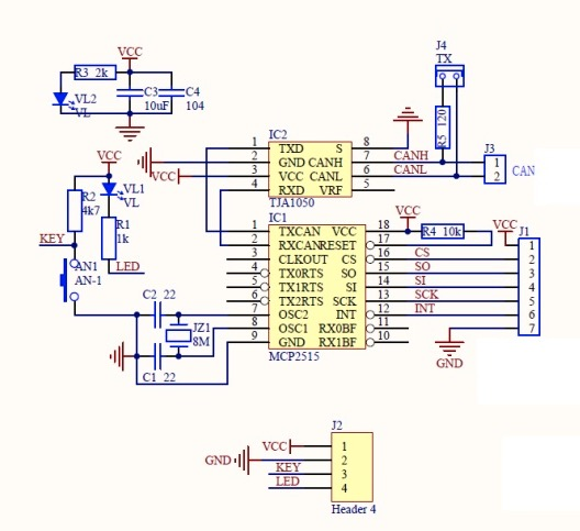 MCP2515 CAN Bus Breakout Board - Schematics