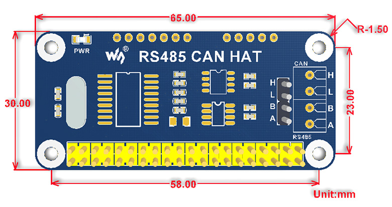 RS485 CAN HAT for Raspberry Pi - Dimensions
