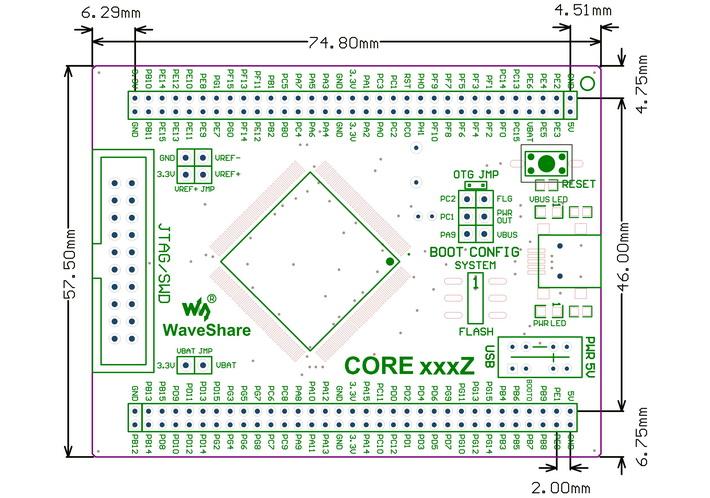 STM32F4 Core Development Board - Dimensions