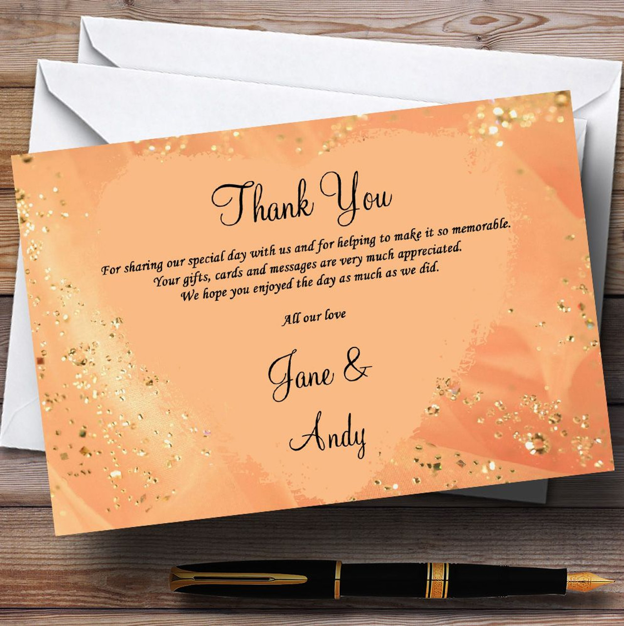 Peach Gold Pretty Personalised Wedding Thank You Cards The Card Zoo