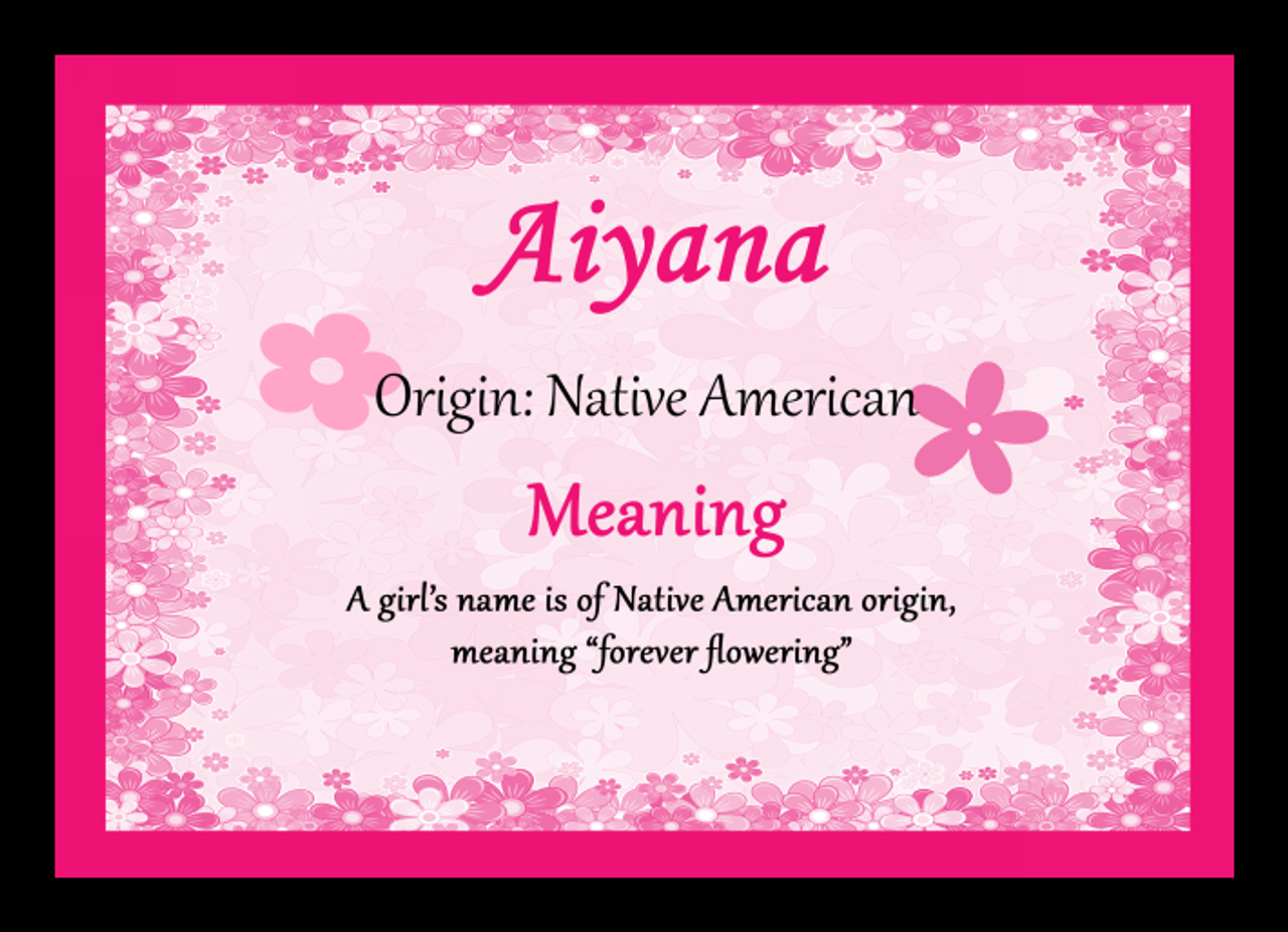 Aiyana Personalised Name Meaning Placemat The Card Zoo