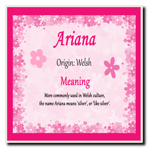 Ariana Personalised Name Meaning Certificate - The Card Zoo