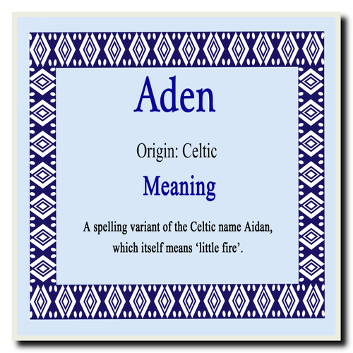 Aden Personalised Name Meaning Coaster - The Card Zoo