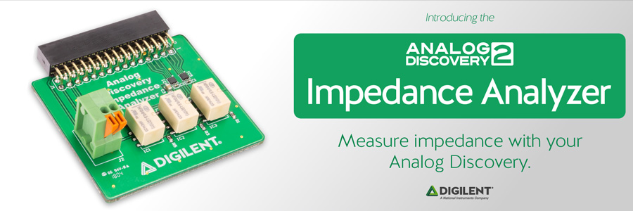 Banner image advertising the Analog Discovery Impedance Analyzer.