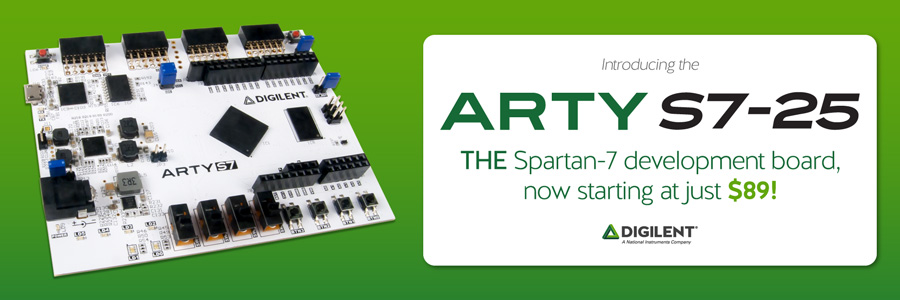 Banner image advertising the Arty S7-25, the Spartan-7 development board.