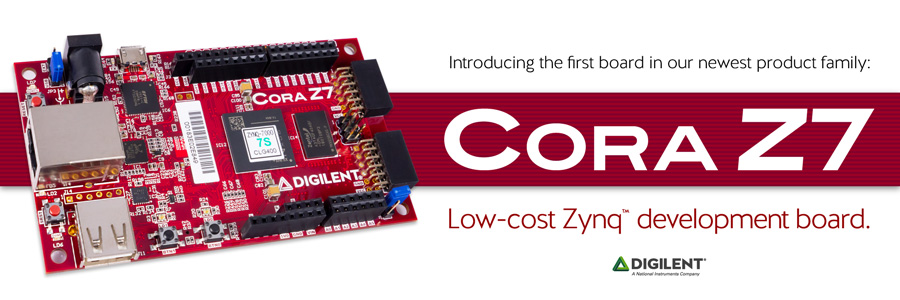 Banner image advertising the Cora Z7, a low-cost Zynq development board.
