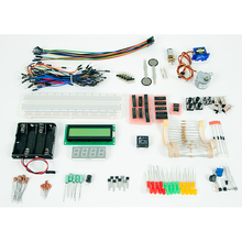 Product image of the Project Starter Kit displaying the included components. Digilent retains the right to change a part or product to a similar item to meet lead time, cost, and MOQ requirements.
