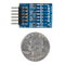 Size comparison product image of the Pmod 8LD: Eight High-brightness LEDs and a US quarter (diameter of quarter: 0.955 inches [24.26 mm]; width: 0.069 inches [1.75 mm]).