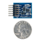 Size comparison product image of the Pmod ACL2: 3-axis MEMS Accelerometer and a US quarter (diameter of quarter: 0.955 inches [24.26 mm]; width: 0.069 inches [1.75 mm]).