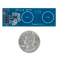 Size comparison product image of the Pmod CDC1: Capacitative Input Buttons and a US quarter (diameter of quarter: 0.955 inches [24.26 mm]; width: 0.069 inches [1.75 mm]).