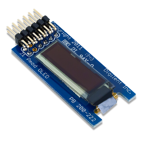 Pmod OLED: 128 x 32 Pixel Monochromatic OLED Display product image.