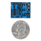 Size comparison product image of the Pmod TMP3: Digital Temperature Sensor and a US quarter (diameter of quarter: 0.955 inches [24.26 mm]; width: 0.069 inches [1.75 mm]).