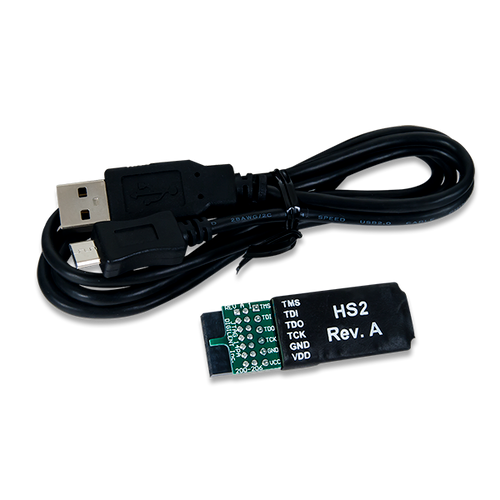 Product image of the JTAG-HS2 with the included Programming Cable