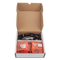Product image of the myRIO Mechatronics Accessory Kit in its cardboard box and the component packaging.