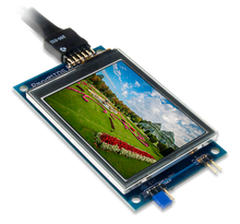 Product image of the Pmod MTDS: Multi-Touch Display System displaying a sample image on the screen. USB cable is not included.
