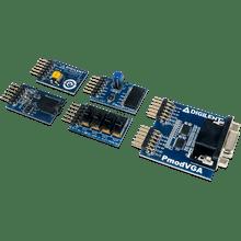 Arty S7 Pmod Pack includes the Pmod VGA, Pmod MIC3, Pmod AMP2, Pmod HYGRO, and the Pmod SWT.