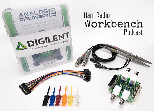 Ham Radio Bundle contents. Includes Analog Discovery 2 kit, BNC Adapter board, BNC Oscilloscope probes (pair), mini grabbers (6-pack), and an extra 2x15 flywire cable.