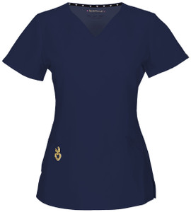 """(20971A) Heartsoul Head Over Heels Scrubs - """"Wrapped Up"""" V-Neck Top"""