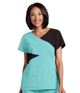 (2140) - Grey's Anatomy Signature Scrubs - 5pkt Contrast Mock Wrap V-Nk
